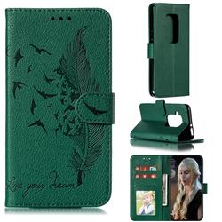 Intricate Embossing Lychee Feather Bird Leather Wallet Case for Motorola One Zoom - Green