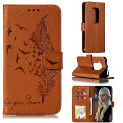 Intricate Embossing Lychee Feather Bird Leather Wallet Case for Motorola One Zoom - Brown