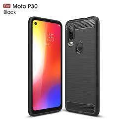 Luxury Carbon Fiber Brushed Wire Drawing Silicone TPU Back Cover for Motorola Moto P40 - Black