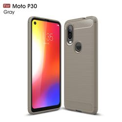Luxury Carbon Fiber Brushed Wire Drawing Silicone TPU Back Cover for Motorola Moto P40 - Gray