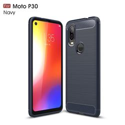 Luxury Carbon Fiber Brushed Wire Drawing Silicone TPU Back Cover for Motorola Moto P40 - Navy