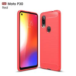 Luxury Carbon Fiber Brushed Wire Drawing Silicone TPU Back Cover for Motorola Moto P40 - Red