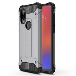 King Kong Armor Premium Shockproof Dual Layer Rugged Hard Cover for Motorola Moto P40 - Silver Grey