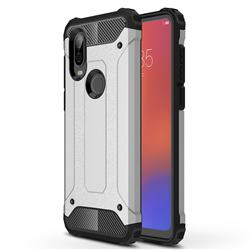 King Kong Armor Premium Shockproof Dual Layer Rugged Hard Cover for Motorola Moto P40 - Technology Silver