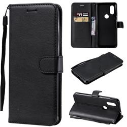 Retro Greek Classic Smooth PU Leather Wallet Phone Case for Motorola Moto P40 - Black