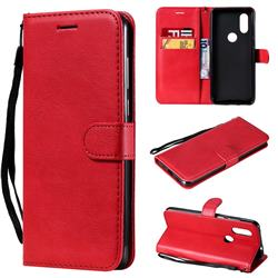 Retro Greek Classic Smooth PU Leather Wallet Phone Case for Motorola Moto P40 - Red
