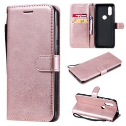 Retro Greek Classic Smooth PU Leather Wallet Phone Case for Motorola Moto P40 - Rose Gold