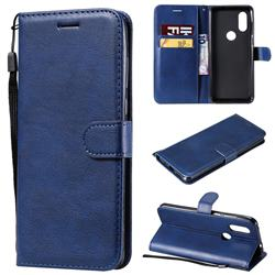 Retro Greek Classic Smooth PU Leather Wallet Phone Case for Motorola Moto P40 - Blue