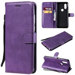 Retro Greek Classic Smooth PU Leather Wallet Phone Case for Motorola Moto P40 - Purple