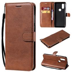 Retro Greek Classic Smooth PU Leather Wallet Phone Case for Motorola Moto P40 - Brown