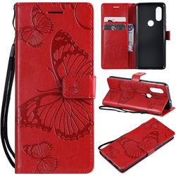 Embossing 3D Butterfly Leather Wallet Case for Motorola Moto P40 - Red