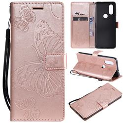Embossing 3D Butterfly Leather Wallet Case for Motorola Moto P40 - Rose Gold
