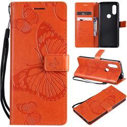 Embossing 3D Butterfly Leather Wallet Case for Motorola Moto P40 - Orange