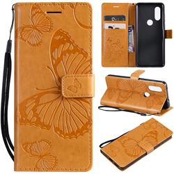 Embossing 3D Butterfly Leather Wallet Case for Motorola Moto P40 - Yellow