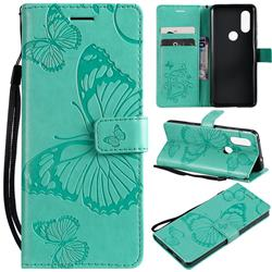 Embossing 3D Butterfly Leather Wallet Case for Motorola Moto P40 - Green