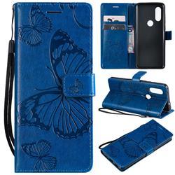 Embossing 3D Butterfly Leather Wallet Case for Motorola Moto P40 - Blue