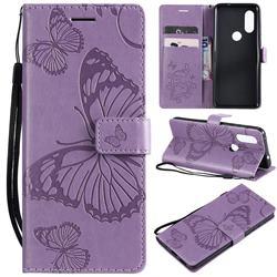 Embossing 3D Butterfly Leather Wallet Case for Motorola Moto P40 - Purple