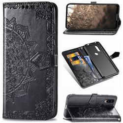 Embossing Imprint Mandala Flower Leather Wallet Case for Motorola Moto P40 - Black