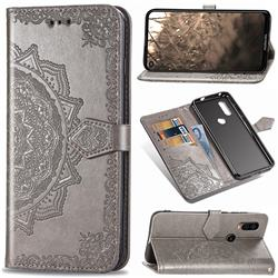 Embossing Imprint Mandala Flower Leather Wallet Case for Motorola Moto P40 - Gray