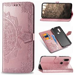 Embossing Imprint Mandala Flower Leather Wallet Case for Motorola Moto P40 - Rose Gold