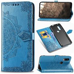 Embossing Imprint Mandala Flower Leather Wallet Case for Motorola Moto P40 - Blue