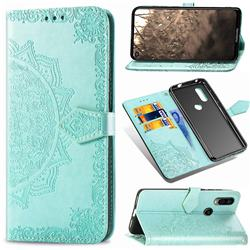 Embossing Imprint Mandala Flower Leather Wallet Case for Motorola Moto P40 - Green