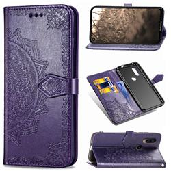 Embossing Imprint Mandala Flower Leather Wallet Case for Motorola Moto P40 - Purple