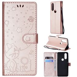 Embossing Bee and Cat Leather Wallet Case for Motorola Moto P40 - Rose Gold