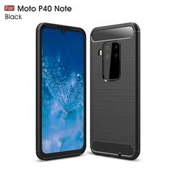 Luxury Carbon Fiber Brushed Wire Drawing Silicone TPU Back Cover for Motorola Moto P40 Note - Black