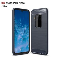 Luxury Carbon Fiber Brushed Wire Drawing Silicone TPU Back Cover for Motorola Moto P40 Note - Navy