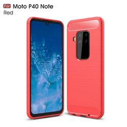 Luxury Carbon Fiber Brushed Wire Drawing Silicone TPU Back Cover for Motorola Moto P40 Note - Red