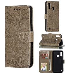 Intricate Embossing Lace Jasmine Flower Leather Wallet Case for Motorola Moto P40 Power - Gray