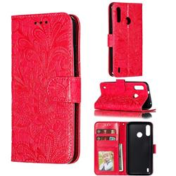 Intricate Embossing Lace Jasmine Flower Leather Wallet Case for Motorola Moto P40 Power - Red