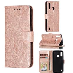 Intricate Embossing Lace Jasmine Flower Leather Wallet Case for Motorola Moto P40 Power - Rose Gold