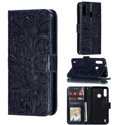 Intricate Embossing Lace Jasmine Flower Leather Wallet Case for Motorola Moto P40 Power - Dark Blue