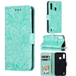 Intricate Embossing Lace Jasmine Flower Leather Wallet Case for Motorola Moto P40 Power - Green