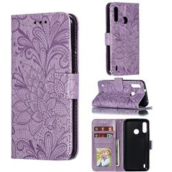 Intricate Embossing Lace Jasmine Flower Leather Wallet Case for Motorola Moto P40 Power - Purple