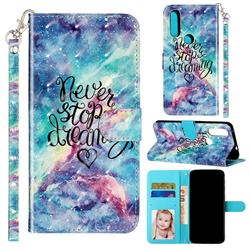 Blue Starry Sky 3D Leather Phone Holster Wallet Case for Motorola Moto P40 Power
