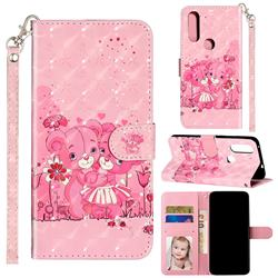 Pink Bear 3D Leather Phone Holster Wallet Case for Motorola Moto P40 Power