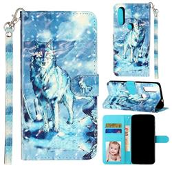 Snow Wolf 3D Leather Phone Holster Wallet Case for Motorola Moto P40 Power