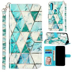 Stitching Marble 3D Leather Phone Holster Wallet Case for Motorola Moto P40 Power