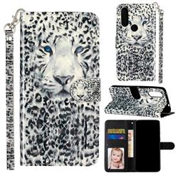 White Leopard 3D Leather Phone Holster Wallet Case for Motorola Moto P40 Power