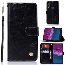 Luxury Retro Leather Wallet Case for Motorola Moto P40 Power - Black