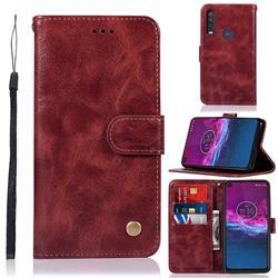 Luxury Retro Leather Wallet Case for Motorola Moto P40 Power - Wine Red