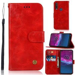 Luxury Retro Leather Wallet Case for Motorola Moto P40 Power - Red