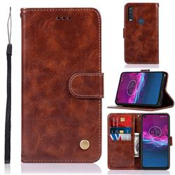Luxury Retro Leather Wallet Case for Motorola Moto P40 Power - Brown
