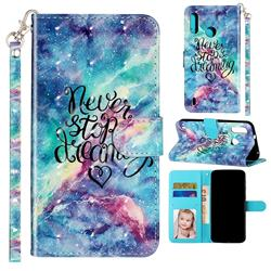 Blue Starry Sky 3D Leather Phone Holster Wallet Case for Motorola Moto P40 Play