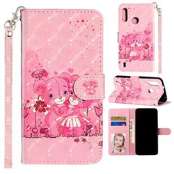 Pink Bear 3D Leather Phone Holster Wallet Case for Motorola Moto P40 Play