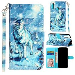 Snow Wolf 3D Leather Phone Holster Wallet Case for Motorola Moto P40 Play