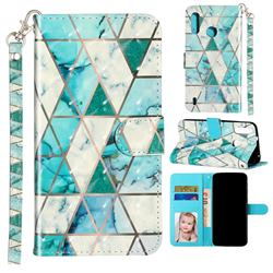 Stitching Marble 3D Leather Phone Holster Wallet Case for Motorola Moto P40 Play